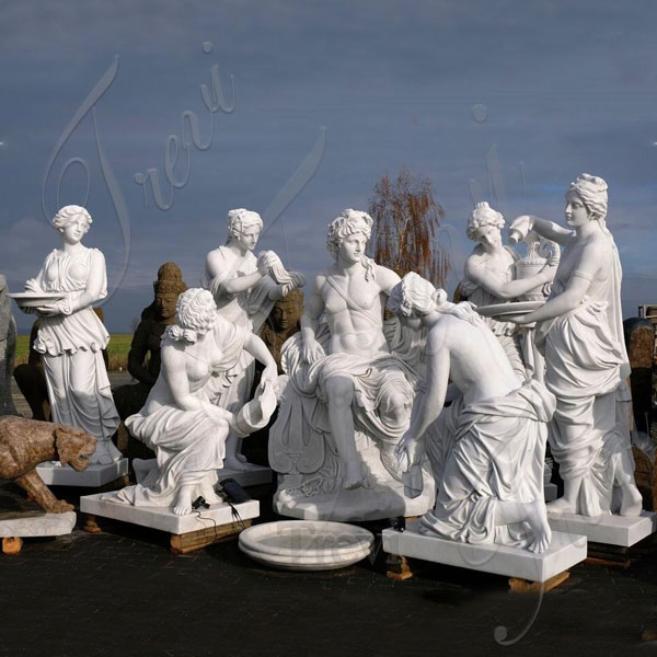 Famous marble Apollo bath group sculpture replica garden statue for outside