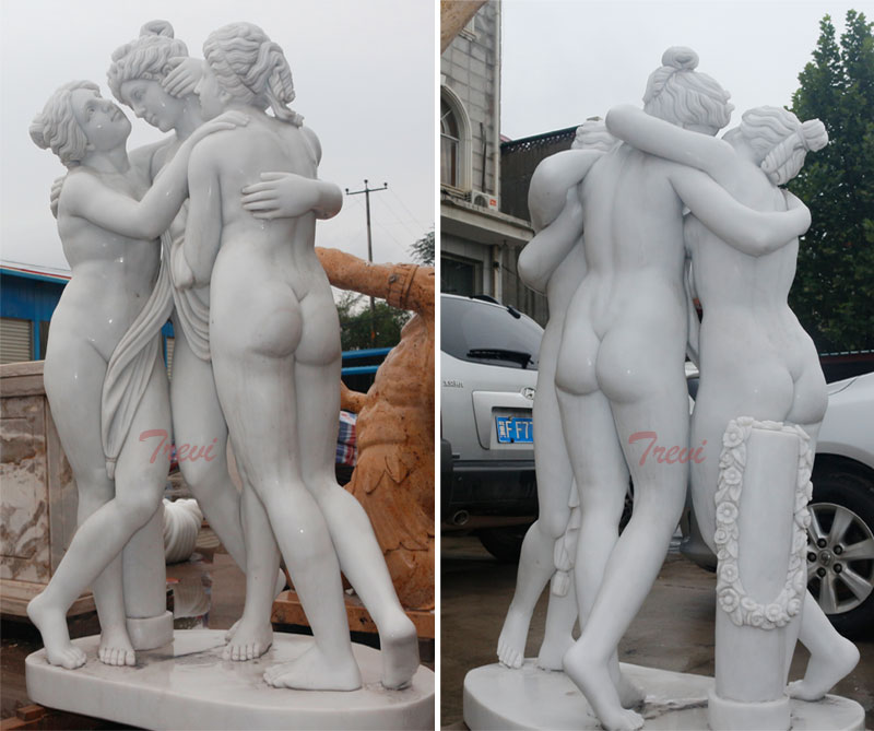 Famous marble statue group of the three graces antonio canova replica sculpture