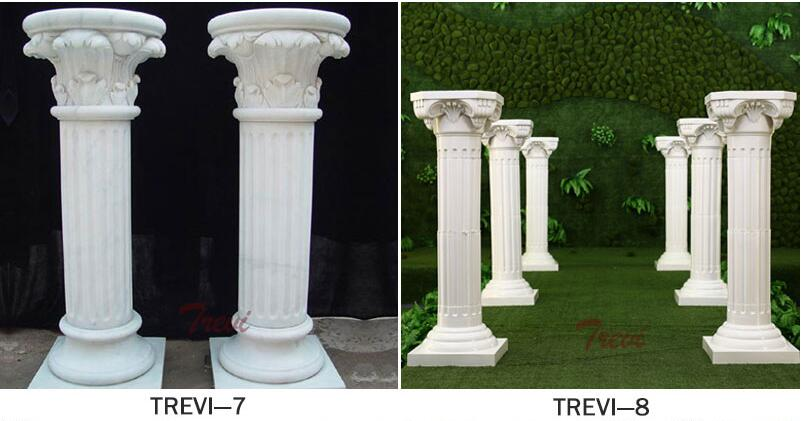 Large white marble round fluted columns and pillars for home