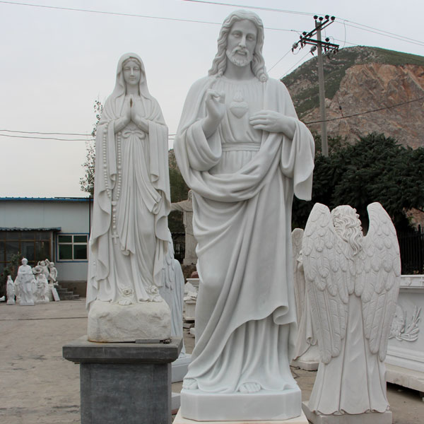 Life size sacred heart of jesus christ and mary white marble sculpture factory directly supply