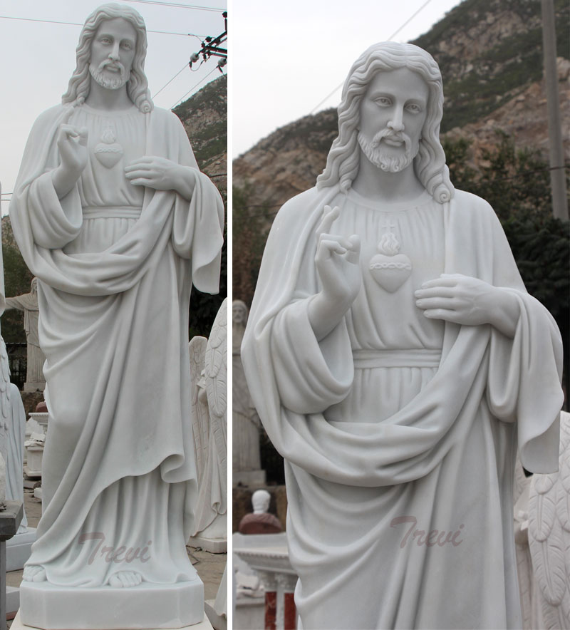 Life size sacred heart of jesus christ white marble sculpture factory directly supply