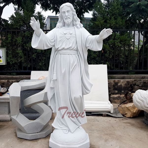 Our Lord jesus sacred heart marble religious garden statues for sale TCH-202