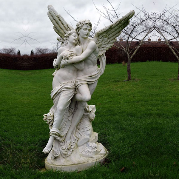 Outdoor cupid and psyche white marble garden statue louvre replica for sale TMC-31