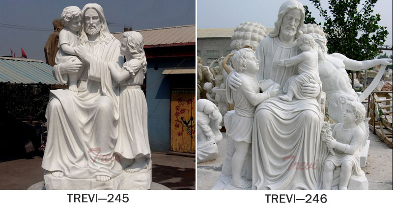 Outdoor large caholic statues of jesus christ with children garden designs