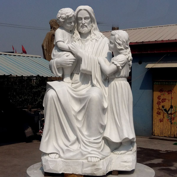 Outdoor religious garden statues of Jesus christ and children white marble statues online sale