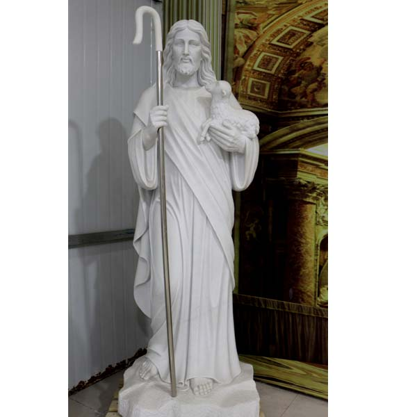 Outdoor Religious Garden Statues of Good Shepherd Jesus Hold Lamb Designs for Sale TCH-201