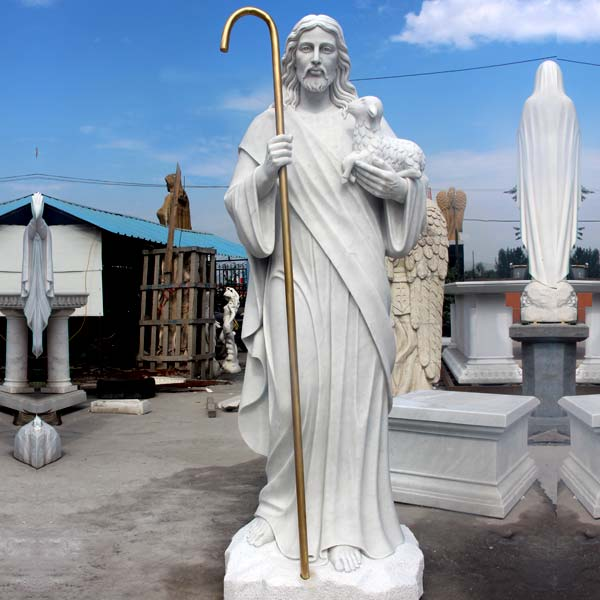 Outdoor religious statues of life size shepherd jesus hold lamb online sale TCH-200