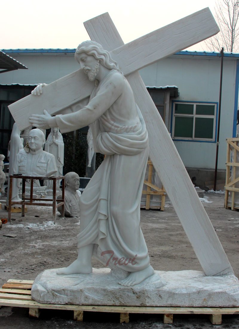 Outdoor Religious Garden Statues Of Jesus Carrying Cross