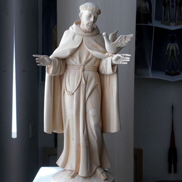 Patron saint francis of assisi garden statue with doves for sale TCH-205