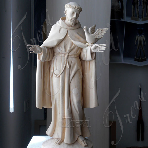 Patron saint francis of assisi garden statue with doves white marble carving for sale