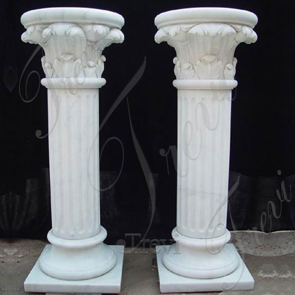 Round white marble carved roman architecture columns pillars and capitals for sale TMC-13