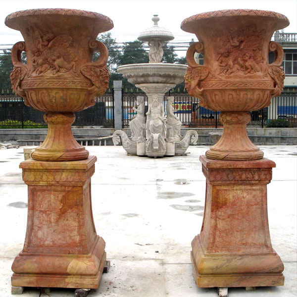 TMP-02 Beige marble large planters pots for yard decor