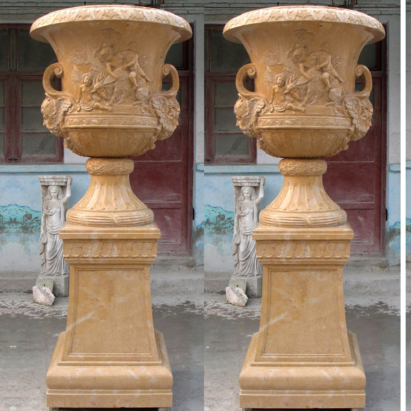 Antique beige marble large planters pots for garden decor TMP-19