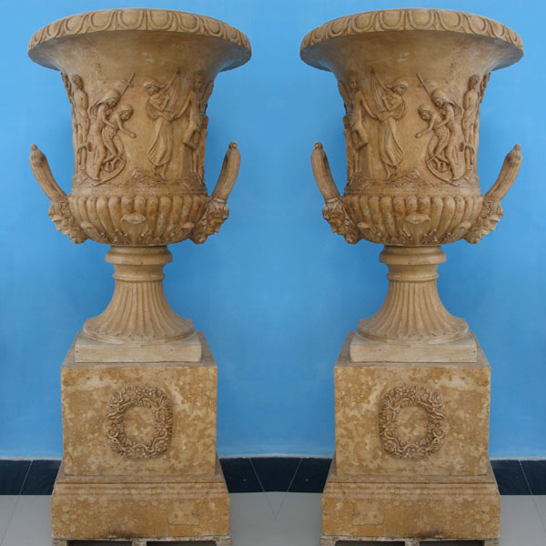 TMP-20 Beige marble large planters flopwer pots for yard decor