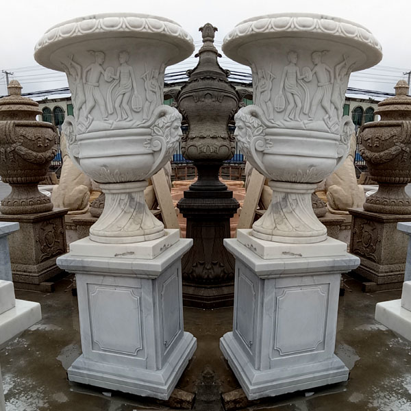 White marble large outdoor decorative planters and pots designs TMP-21
