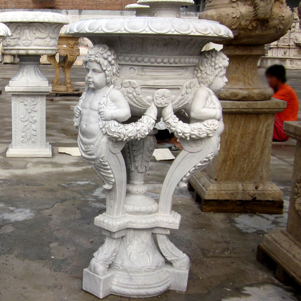 Garden decorative antique white marble carving planter pots with angel statues TMP-22