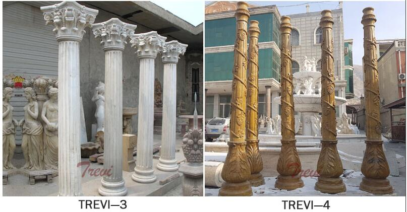The decorative top of a beige marble column monuments for sale