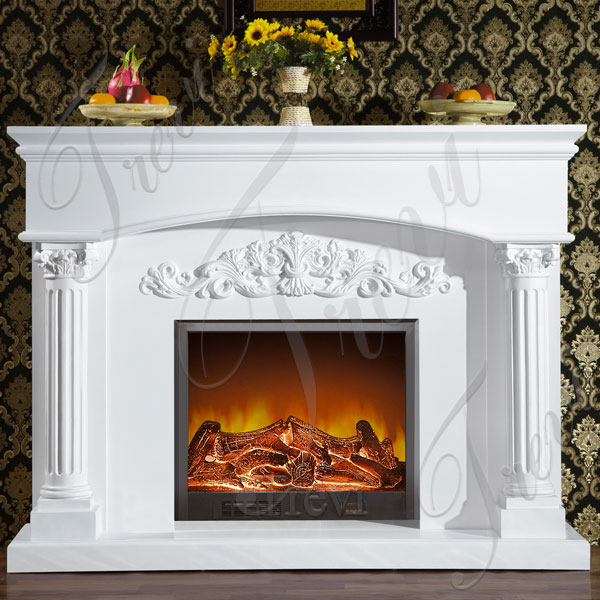 Where to buy traditional white marble fireplace mantels decoration ideas TMFP-11