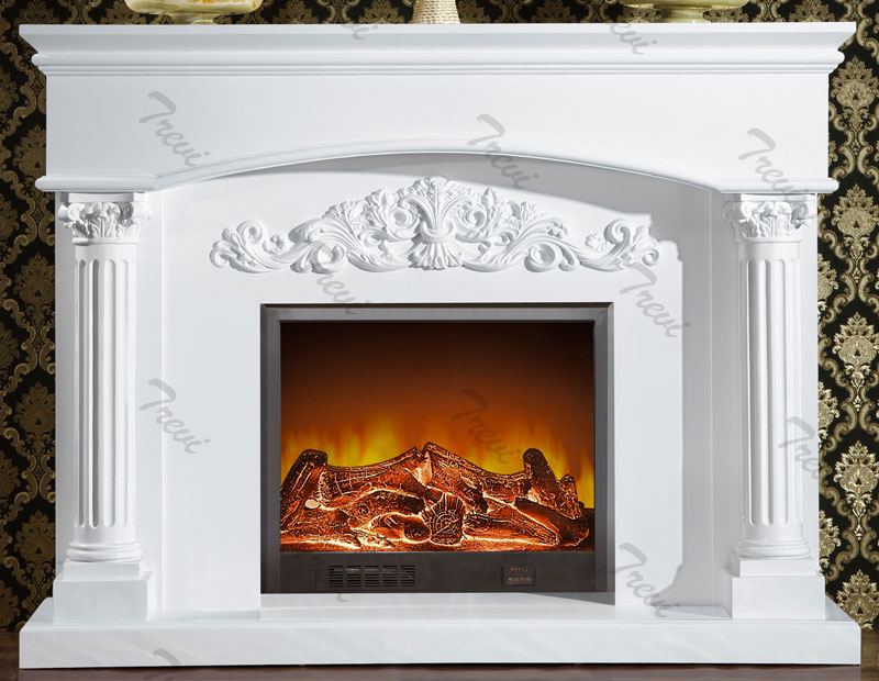 Where to buy traditional white marble fireplace mantels decoration ideas
