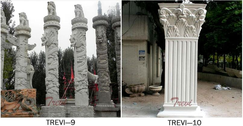 White marble columns and pillars for house outdoor designs