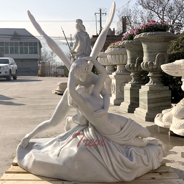 life size garden statue of Psyche Revived by Cupid's Kiss Antonio Canova for sale