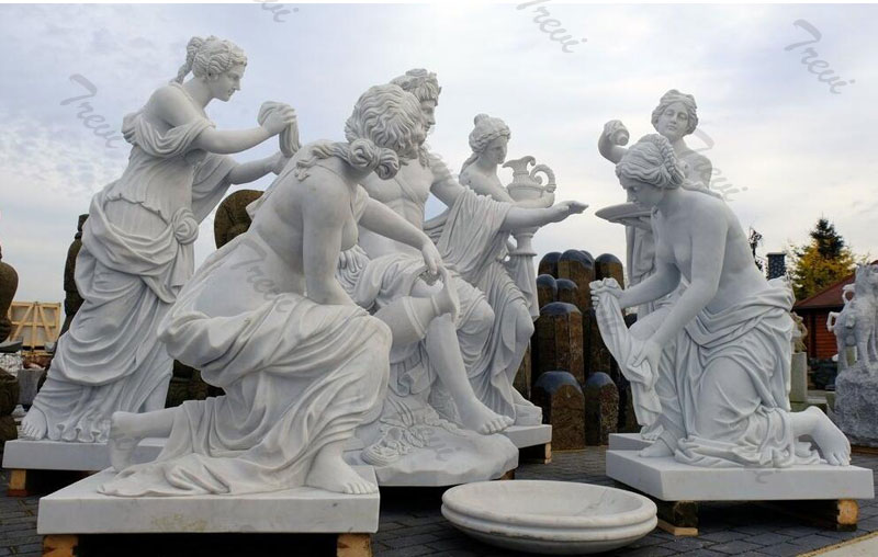 life size marble Apollo bath group sculpture replica garden statue outside