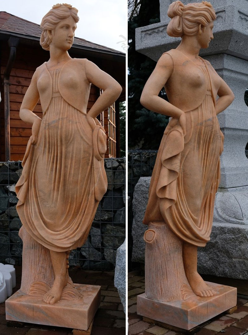 Antique marble garden statues female life size for outside ornaments online sale
