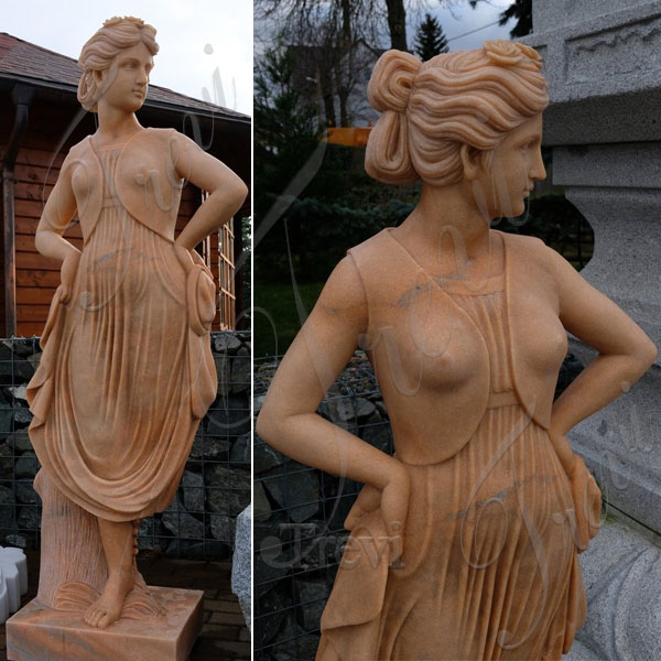 Antique marble garden statues female life size for outside ornaments TMC-43