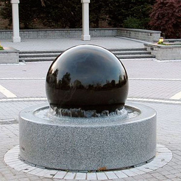 Black Granite Rotating Ball Water Fountain for Sale MOKK-177