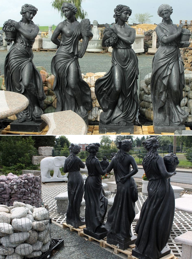 Black marble stone life size goddess greek nude fairy classical statues female details