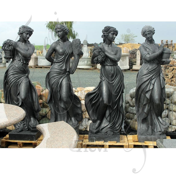 Black marble life size greek nude fairy four season goddess classical statues female for sale TMC-41