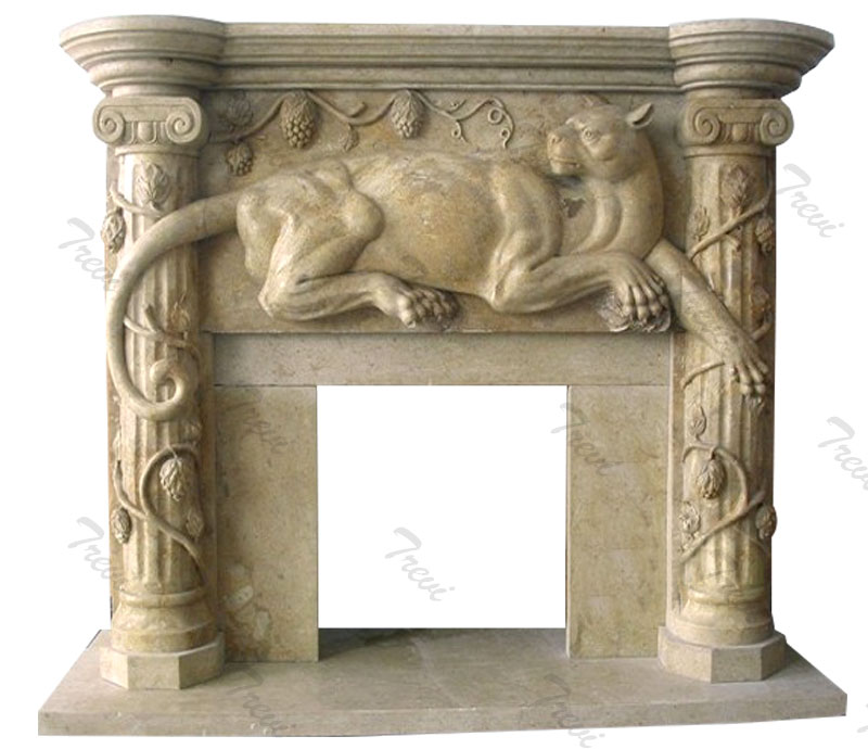 Buy antique stone fireplace mantels shelf with leopard decor online
