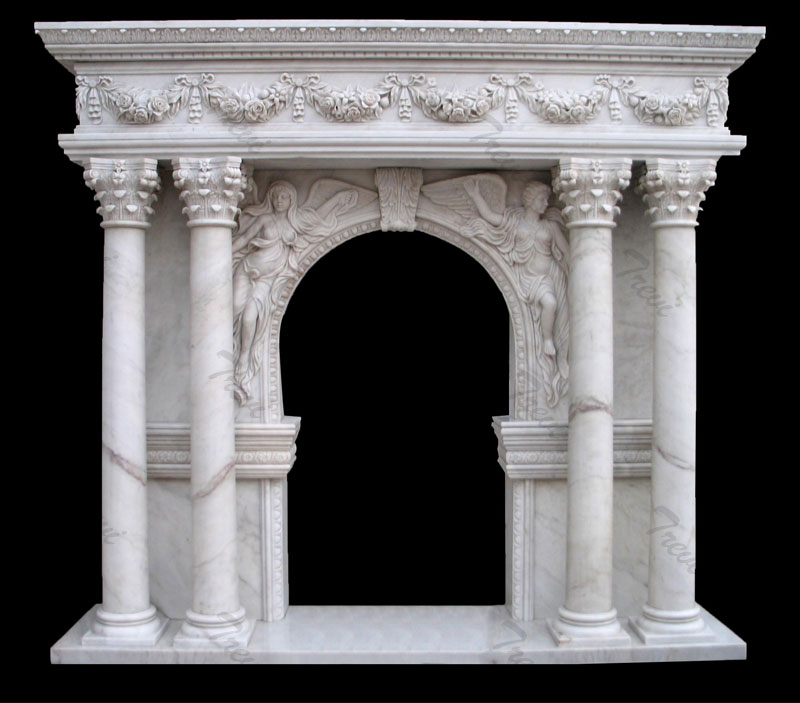 Contemporary white marble fireplace mantels shelf with columns ideas for sale