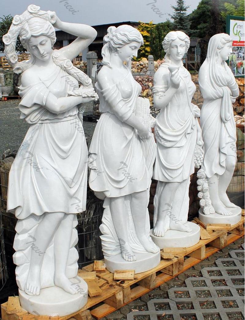 Famous white marble life size garden statues four season goddess set for sale