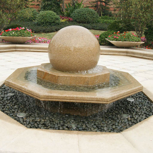 Granite rotating ball water feature 2 tiers outdoor decor TMF-32