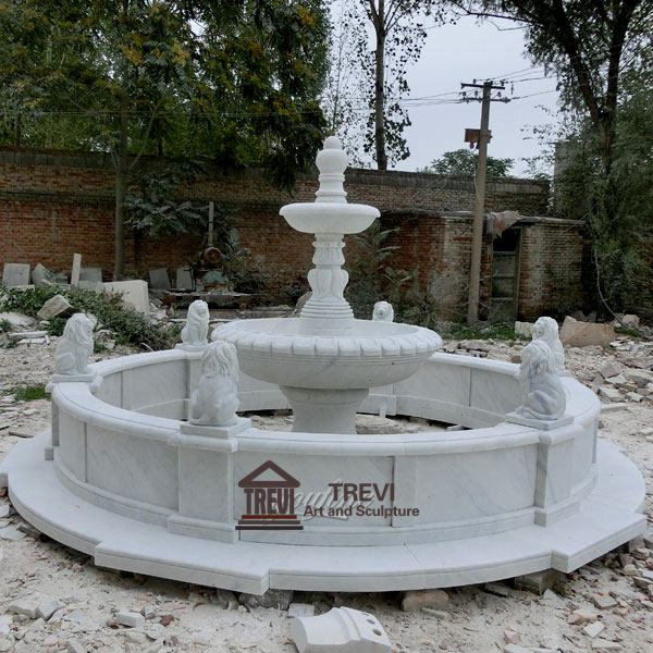 Cheap Two Tiered White Marble Water Fountain Garden Decoration Design MOKK-105