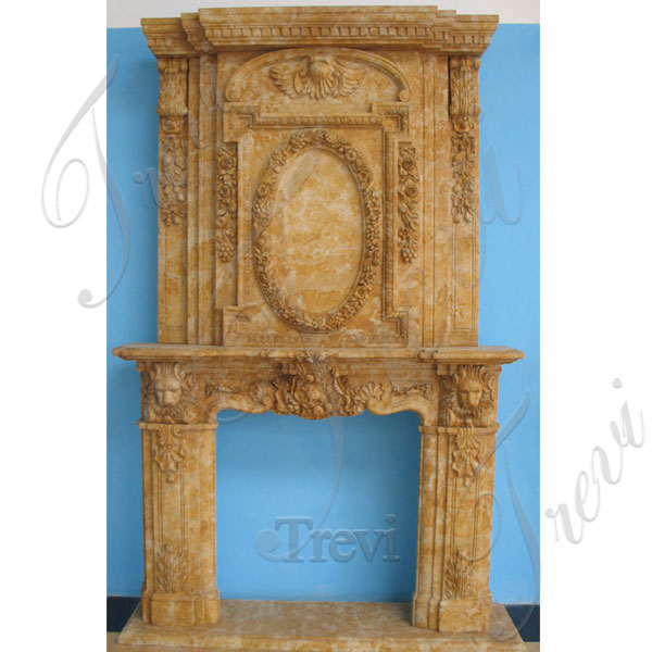 Home depot large antique marble carved fireplace with overmantle designs for sale