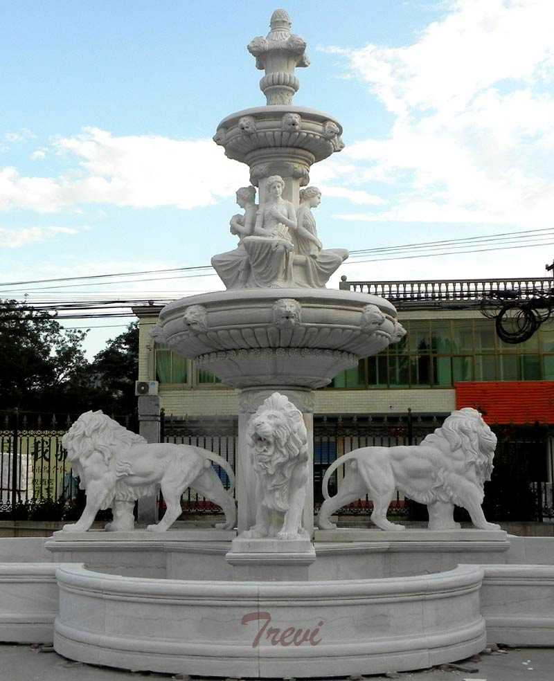 Large-outdoor-tiered-water-fountains-with-lion-statues-detail