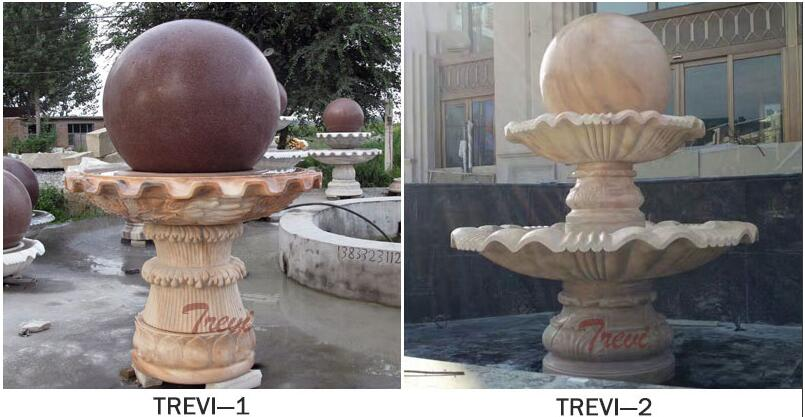 Large tiered granite sphere water fountains for the garden