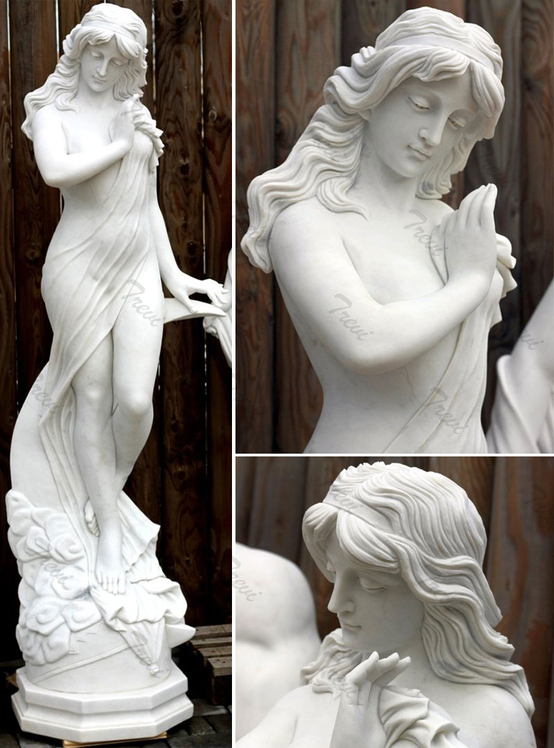 Life size nude female white marble garden statues details