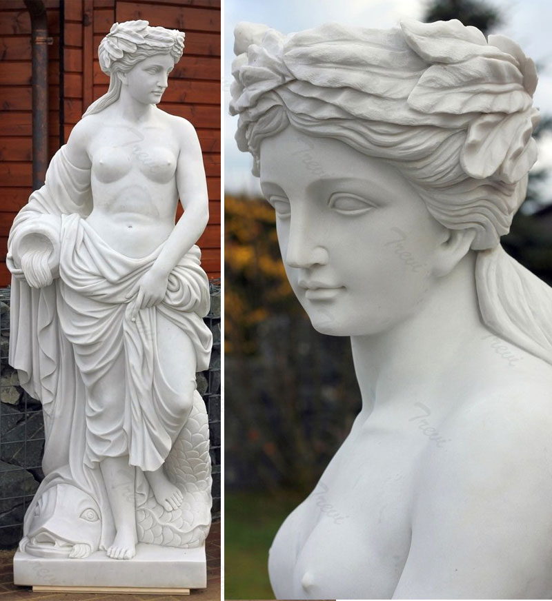 Life size nude girl hold jar outdoor marble statues for lawn ornaments designs