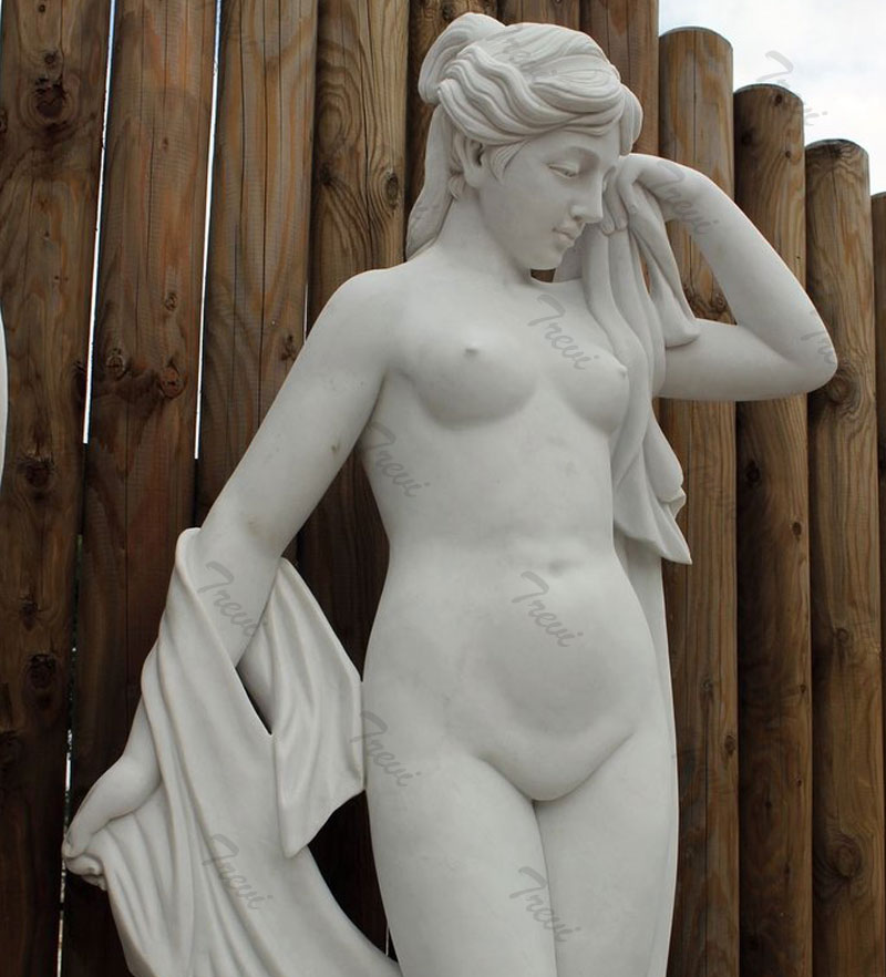 Life size nude woman outdoor garden statues white marble carving online sale