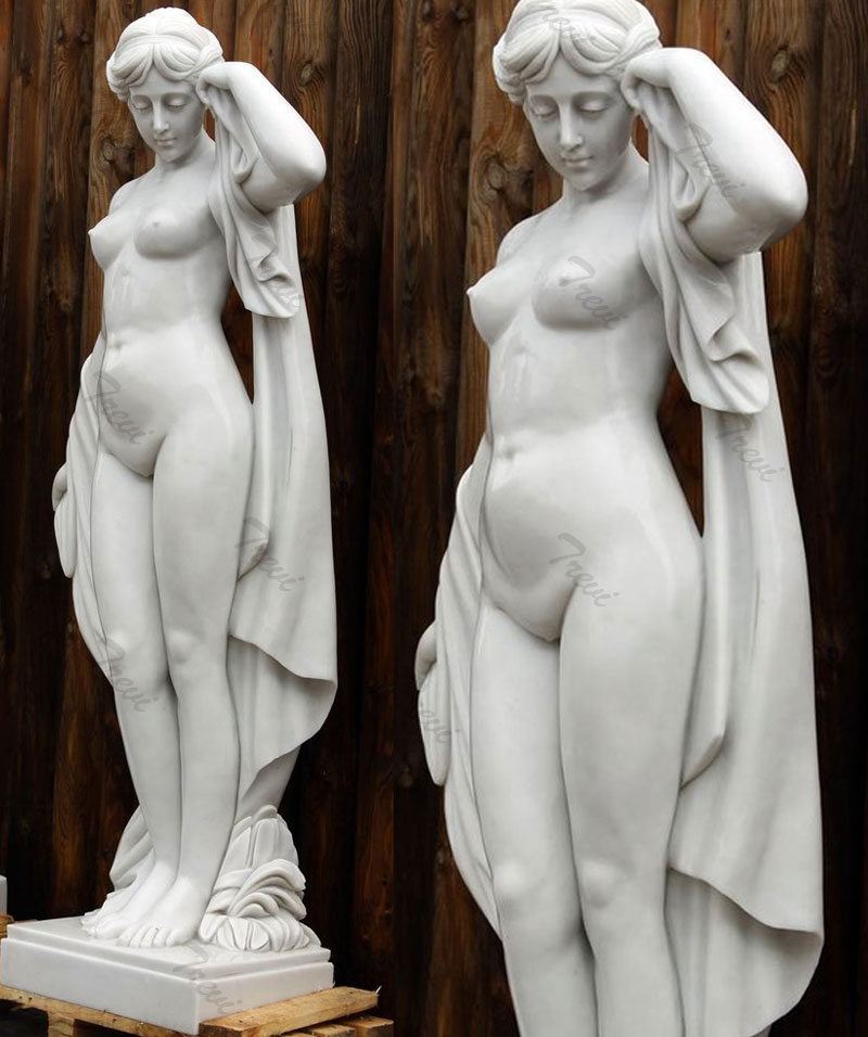 Life size nude woman outdoor white marble garden statues online sale
