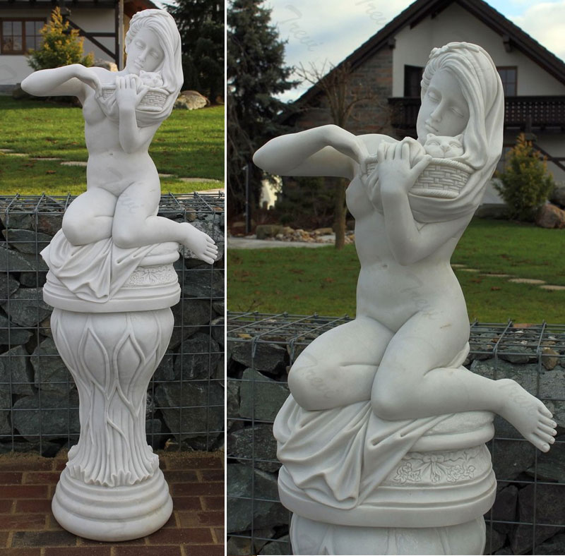 Nude art sculpture female with cat for garden lawn decor outdoor