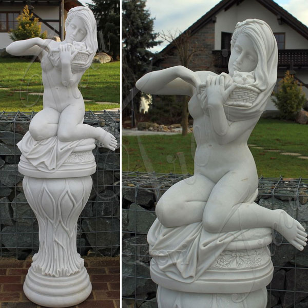 Nude art sculpture female with cat for garden lawn decor TMC-49