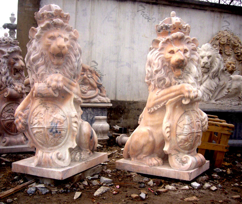 Outdoor crown lion king with shield marble statues a pair lying down for outside.jpg