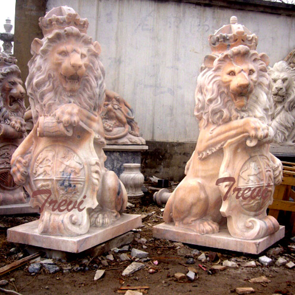 Outdoor crown lion king with shield statues a pair lying down for outside