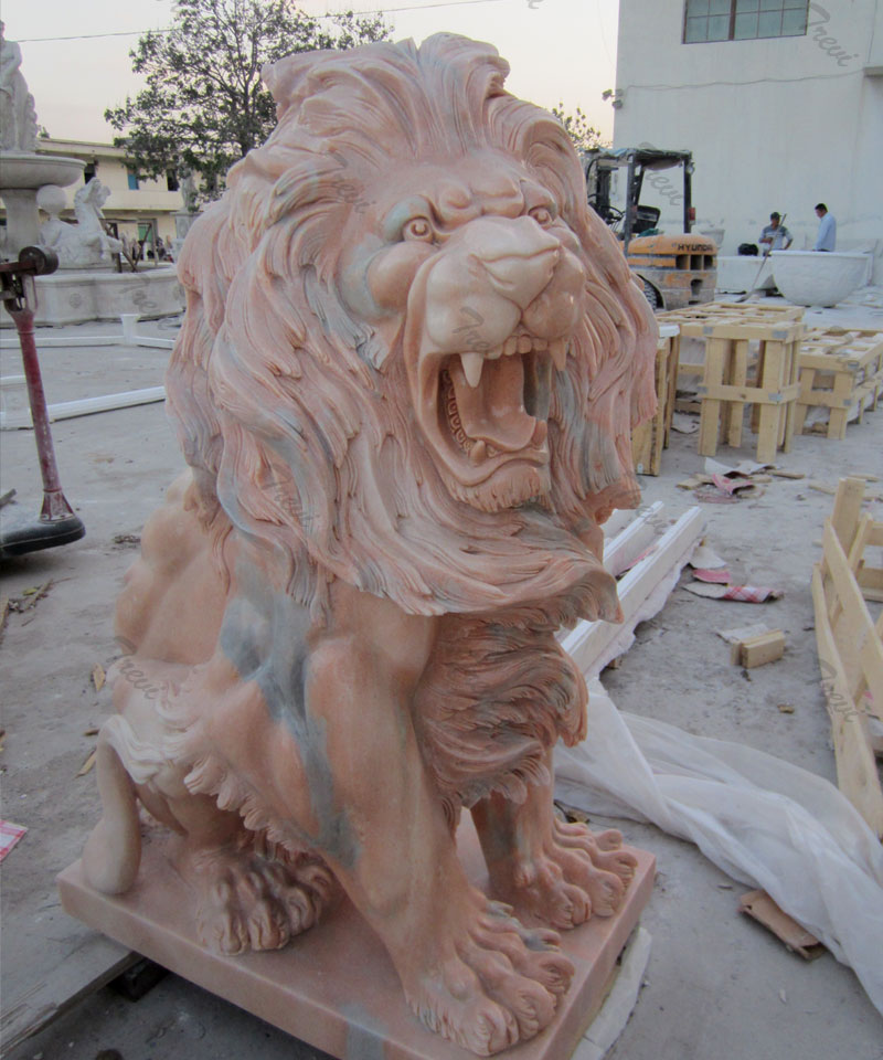 Outdoor garden roaring lion art sitting lion statues for home lawn ornaments