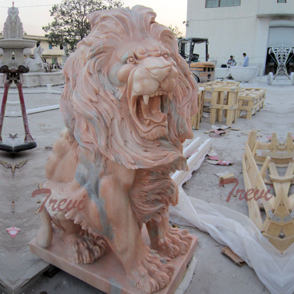 Outdoor garden roaring lion art sitting lion statues for lawn ornaments TMA-42