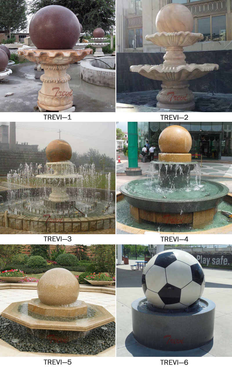 Outdoor granite stone sphere water features fountains for the garden designs